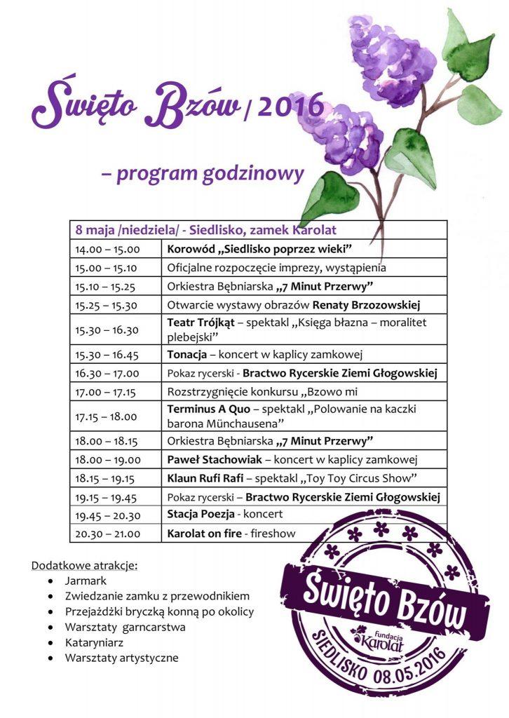 Święto Bzów 2016, Siedlisko, Program